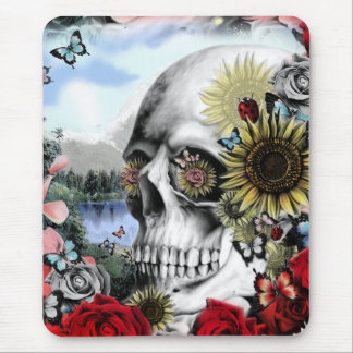 Reflection. Floral landscape skull. Mouse Pad