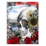 Reflection. Floral landscape skull. Spiral Notebooks