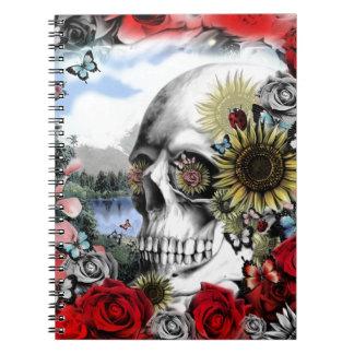 Reflection. Floral landscape skull. Notebooks