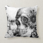 Reflection. Floral landscape skull pillow. Throw Pillows