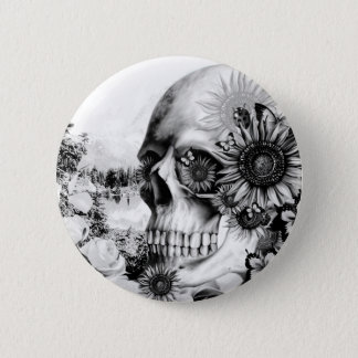 Reflection. Floral landscape skull. Pinback Button