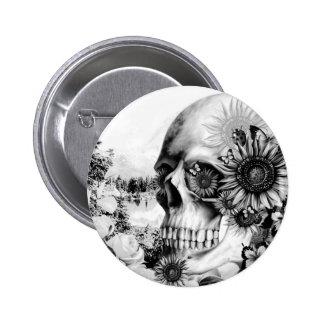 Reflection. Floral landscape skull. Pinback Button