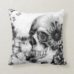 Reflection, floral nature skull throw pillows