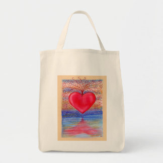 Reflection Heart Tote Grocery Tote Bag