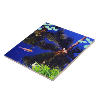 Reflection in the Koi Pond Large Square Tile
