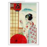 REFLECTION, JAPANESE GEISHA GREETING CARD