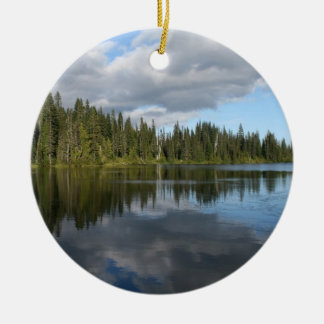 Reflection Lake at Mount Rainier Double-Sided Ceramic Round Christmas Ornament