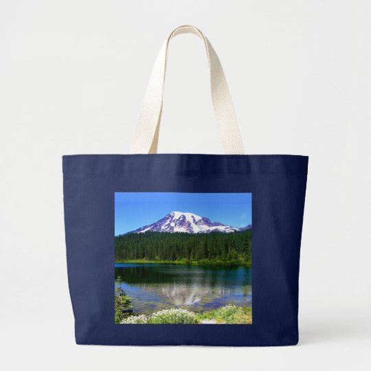 Reflection Lake, Mount Rainier, WA, USA Large Tote Bag