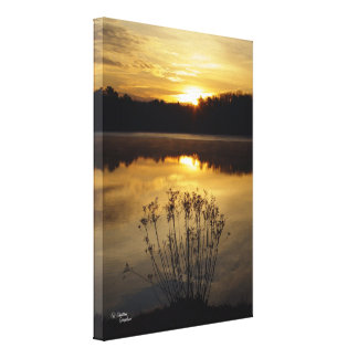 Reflection lake sunrise Stretched Canvas Print
