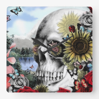 Reflection, landscape skull. square wall clock