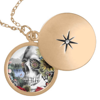 Reflection, landscape skull. gold plated necklace