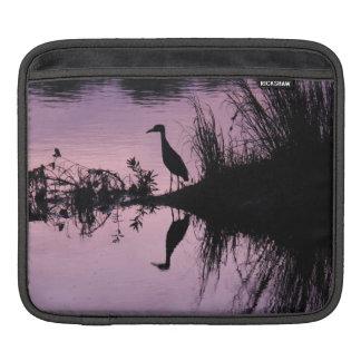 Reflection of Heron in Water at Dusk, iPad Sleeve