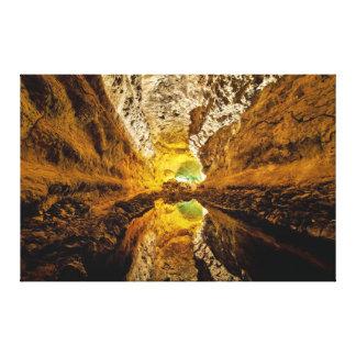 Reflection on Water Cueva de los Verdes Spain Canvas Prints