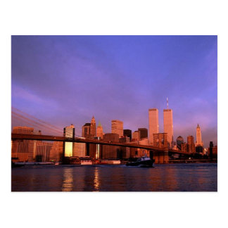 Reflection PC Twin Towers World Trade Center NYC Postcard
