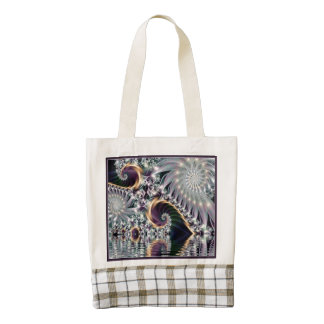 Reflection Silver Spiral Fractal Zazzle HEART Tote Bag