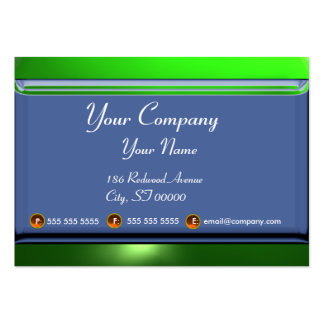 REFLECTIONS 2 EMERALD  monogram white blue green Large Business Card