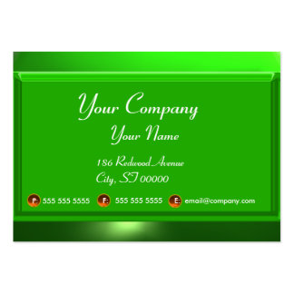 REFLECTIONS 2 EMERALD  monogram white green Large Business Card