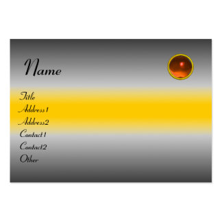 REFLECTIONS  AGATE MONOGRAM, grey white yellow Large Business Cards (Pack Of 100)