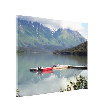 franwestphotography Reflections: boat on Trail Lake, Alaska Canvas Print