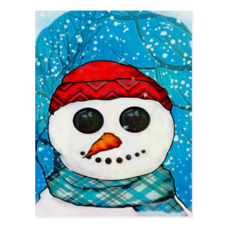 Reflections Christmas Snowman Folk Art COLLECT Postcard