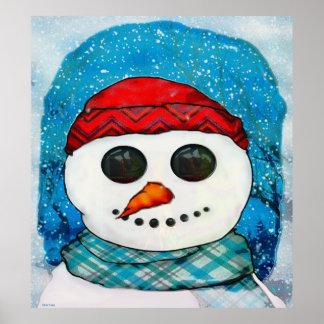 Reflections Christmas Snowman Folk Art Poster