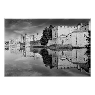 Reflections from a majestic Castle B&W Poster