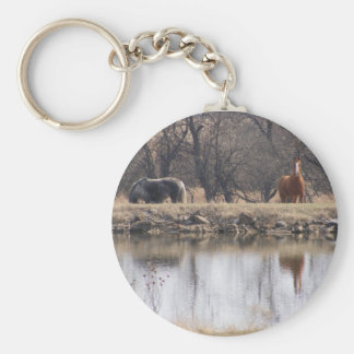 Reflections: Horses by a Pond Keychain