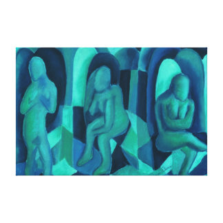 Reflections in Blue I - Abstract Aqua Cyan Angels Gallery Wrap Canvas