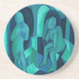 Reflections in Blue I - Abstract Aqua Cyan Angels Drink Coasters