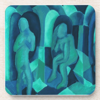 Reflections in Blue I - Abstract Aqua Cyan Angels Coasters