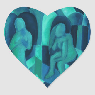 Reflections in Blue I - Abstract Aqua Cyan Angels Heart Stickers