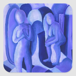 Reflections in Blue II - Abstract Azure Angels Square Stickers