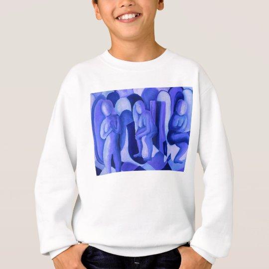 Reflections in Blue II Abstract Azure Cyan Angels Sweatshirt