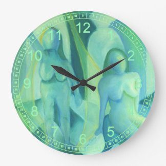 Reflections in Blue III, Abstract Teal Cyan Angels Wall Clock