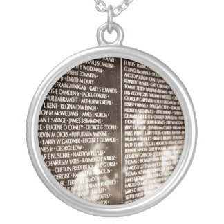 Reflections In The Vietnam Veteran's Memorial Wall Round Pendant Necklace