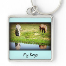 Reflections in the Water - Horses Keychain