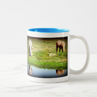 Reflections in the Water - Horses Two-Tone Coffee Mug