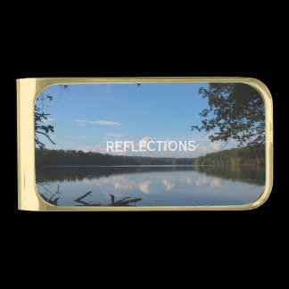 Reflections Loch Raven Reservoir Custom Gold Finish Money Clip