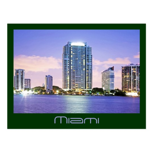 Reflections of a Blue Miami on Biscayne Bay Postcard
