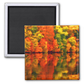 Reflections of autumn 2 inch square magnet