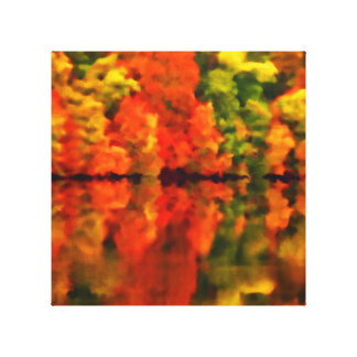 Reflections of autumn stretched canvas prints