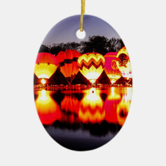 Reflections of Hot Air Balloons Ceramic Ornament