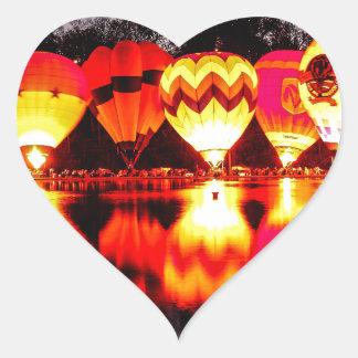 Reflections of Hot Air Balloons Heart Sticker