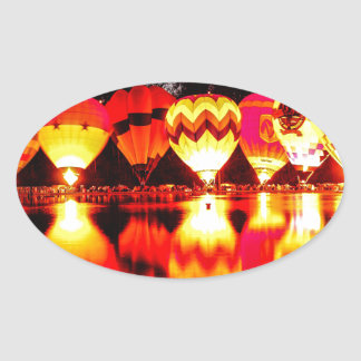 Reflections of Hot Air Balloons Oval Sticker