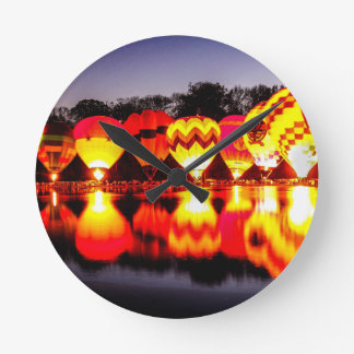Reflections of Hot Air Balloons Round Clock