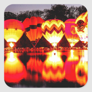 Reflections of Hot Air Balloons Square Sticker