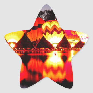 Reflections of Hot Air Balloons Star Sticker