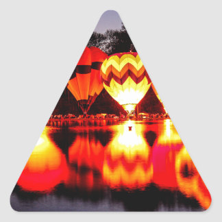 Reflections of Hot Air Balloons Triangle Sticker