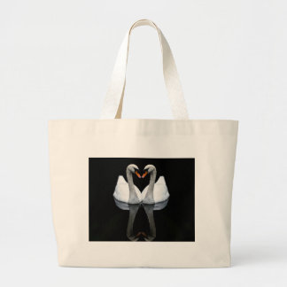 Reflections of Love, Heart Shape, White Swans Large Tote Bag