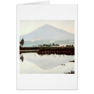 Reflections of Mt. Fuji in Old Japan Vintage Lake Card